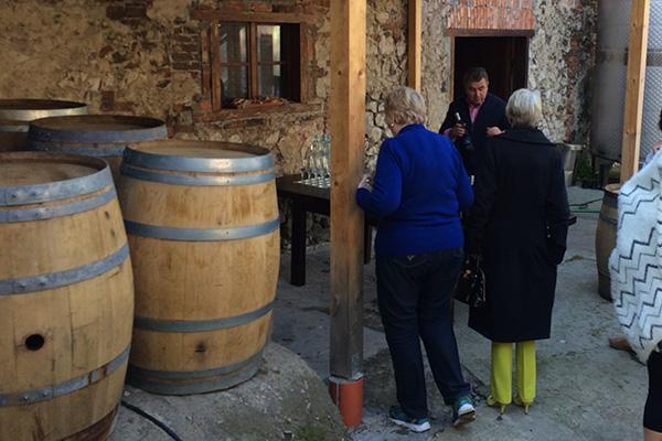 Guests arriving for wine tasting at Srebrna Gora winery in Lesser Poland