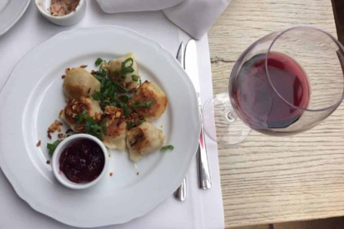 Pierogi with Polish wine
