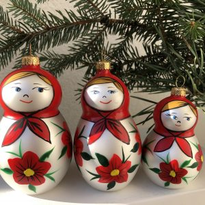 Matrioshki glass Christmas ornaments