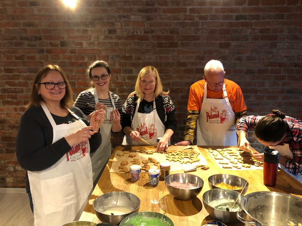 Poland Culinary Vacations guests baking Christmas cookies in Krakow, Poland