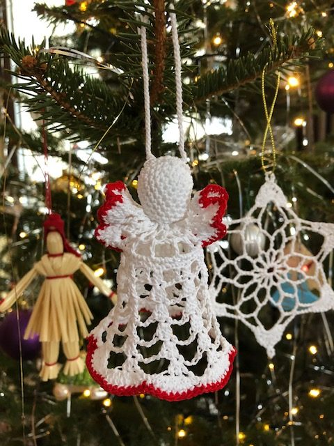Crochet angel hanging Christmas ornament with red trim