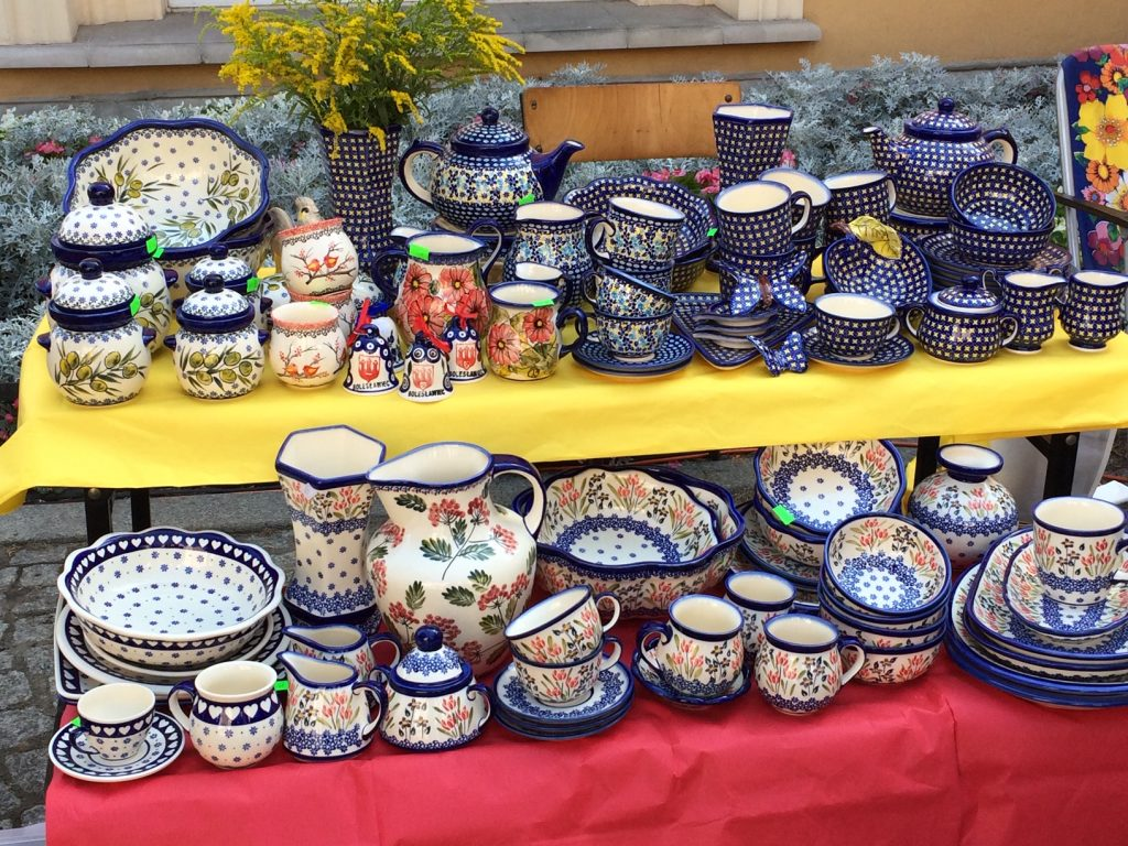 Polish Pottery pieces display at the festival