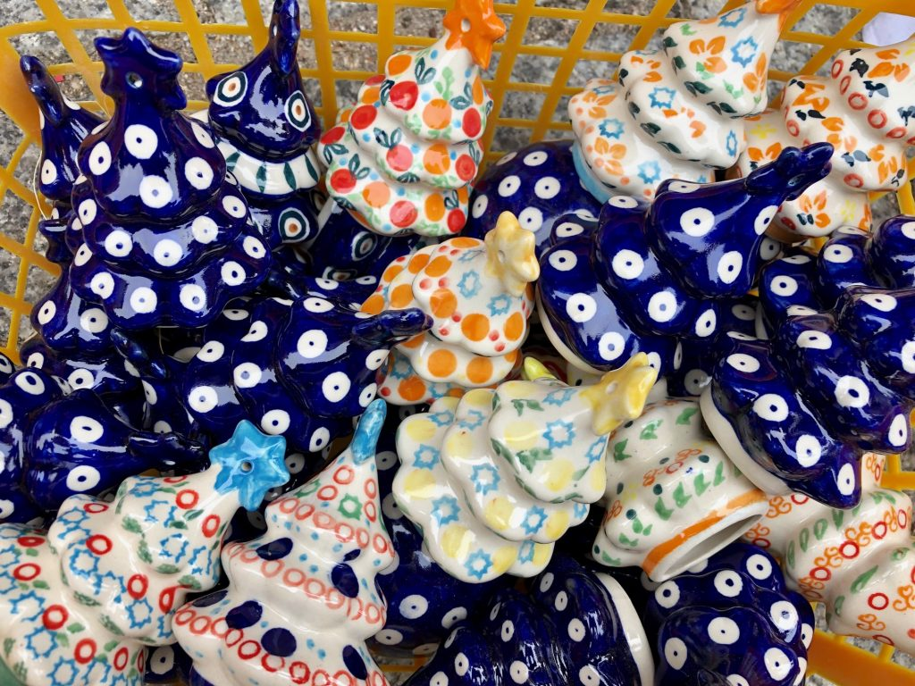 Christmas decor with Polish Pottery pattern for sale at the festival
