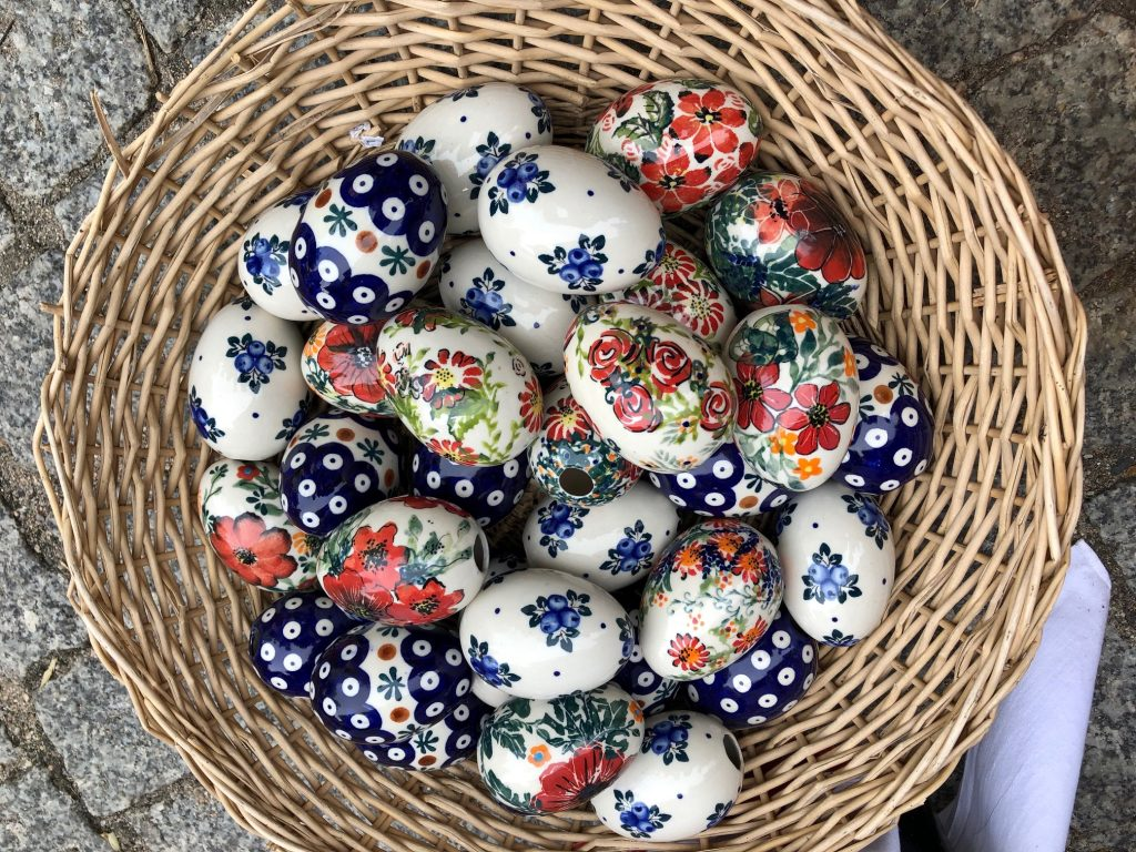 Easter eggs with Polish Pottery design pattern for purchase at the festival