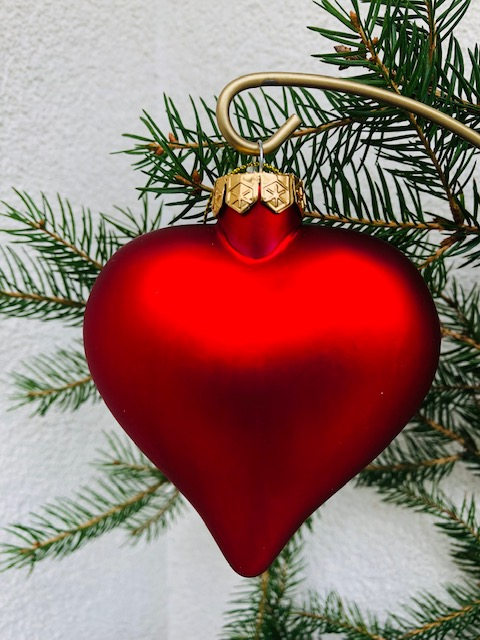 Large Red Heart hanging glass ornament